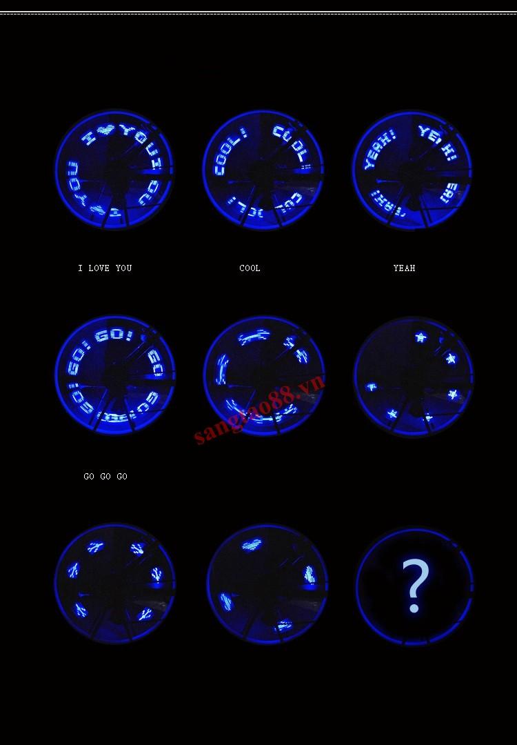 Đèn 7 led chạy chữ lắp van xe
