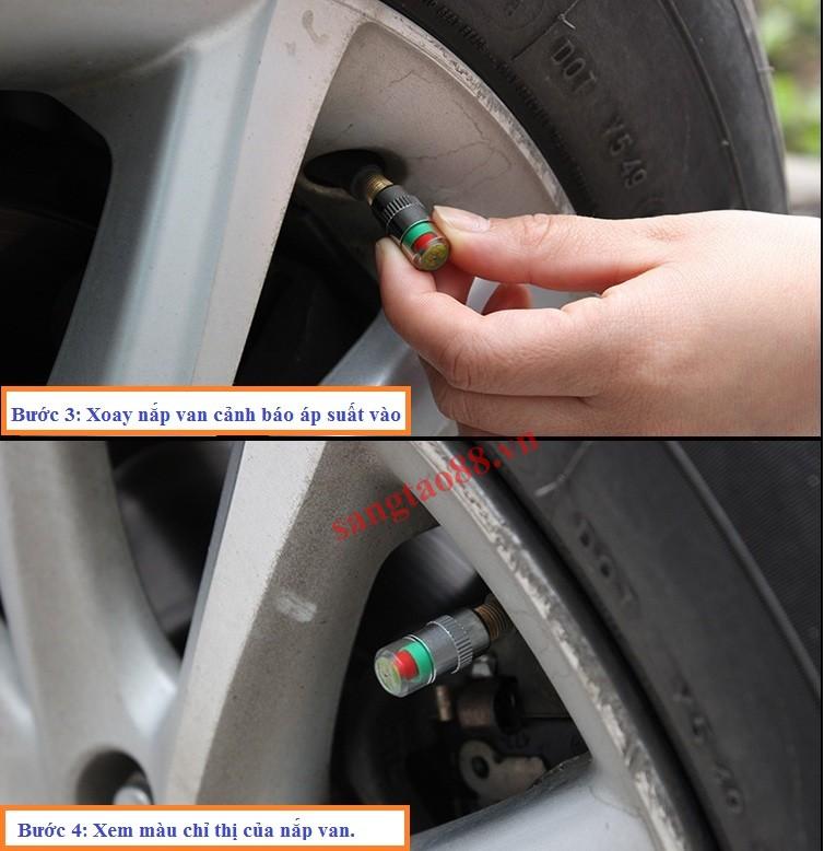 Nắp van cảnh báo áp suất lốp ô tô, xe máy