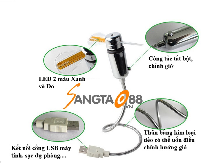 quạt đồng hồ mini căm cổng USB