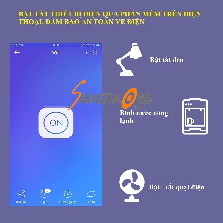 ổ cắm điều khiển từ xa wifi SA 10A