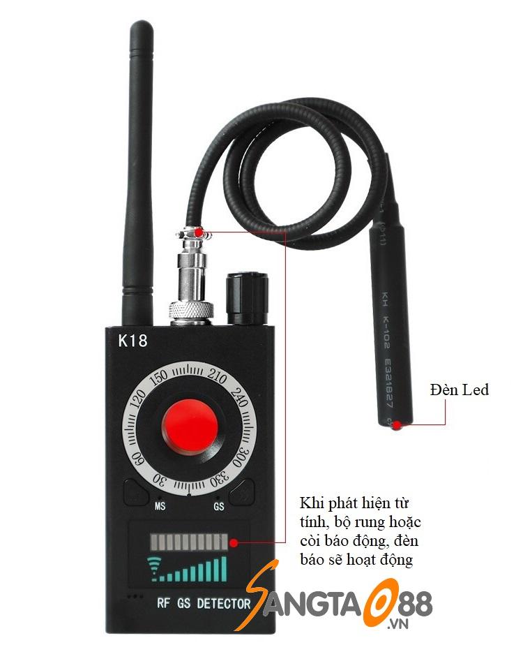 Máy phát hiện định vị, máy nghe lén, camera quay lén K18