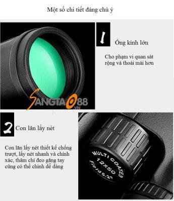 Một số chi tiết đáng chú ý của ống nhòm 2 mắt 12x50