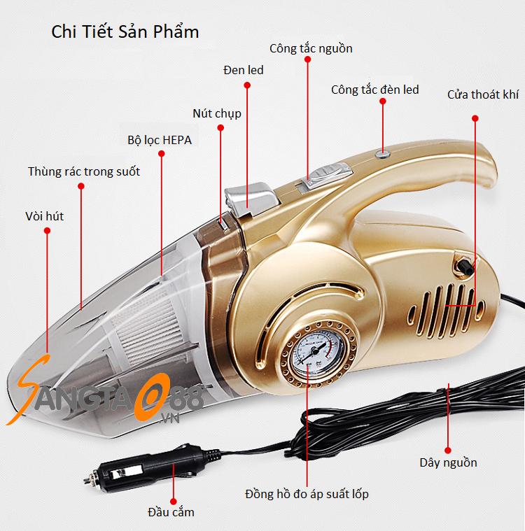 Máy hút bụi kiêm bơm lốp xe trên ô tô 12V 4in1