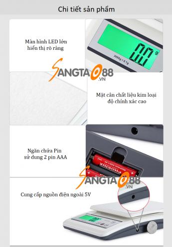 Cân điện tử 3kg/0.1g WH-B20L