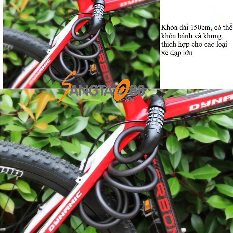 Khóa dây mật khẩu chống trộm xe đạp 150cm