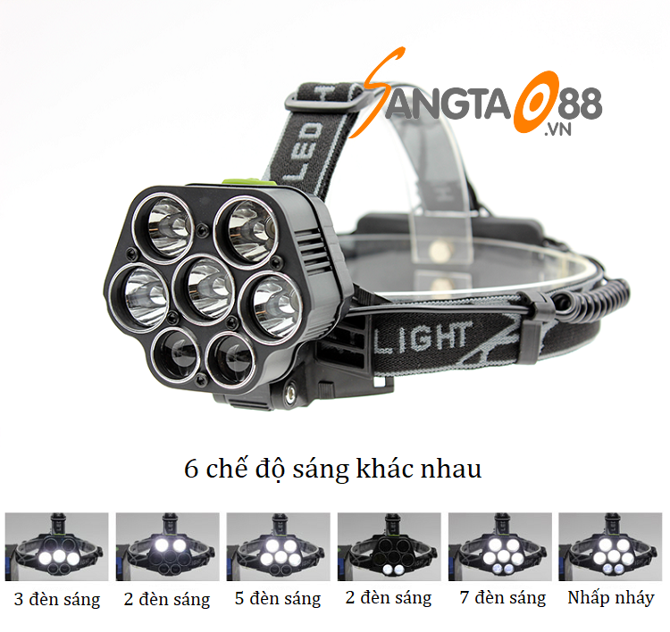 Đèn pin đeo trán 7 LED T6