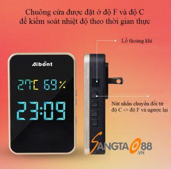 Chuông cửa không dây kiêm đồng hồ đo nhiệt độ độ ẩm T295-BB